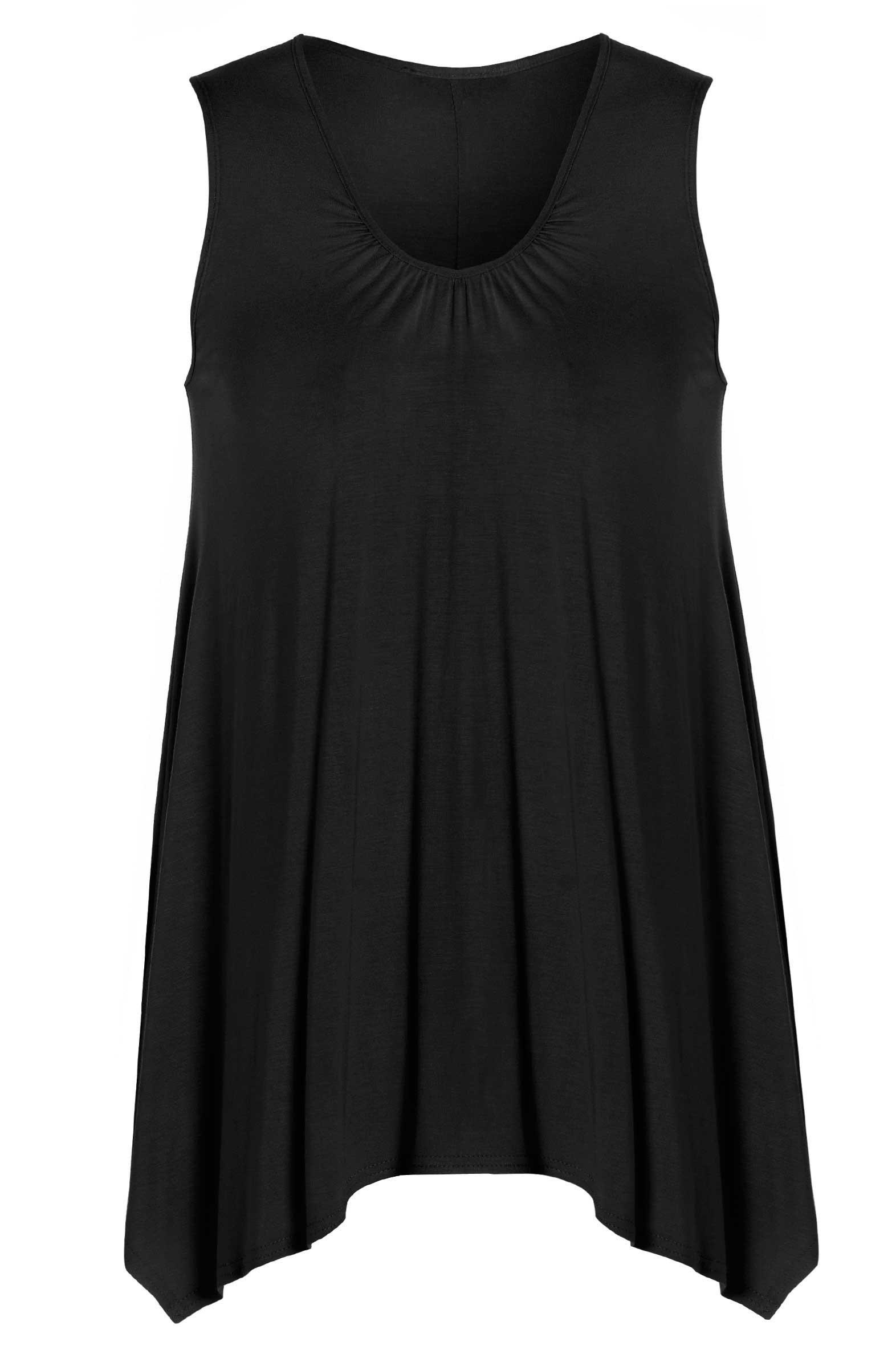 Womens Plus Size Black Sleeveless Ruched Neckline Plain
