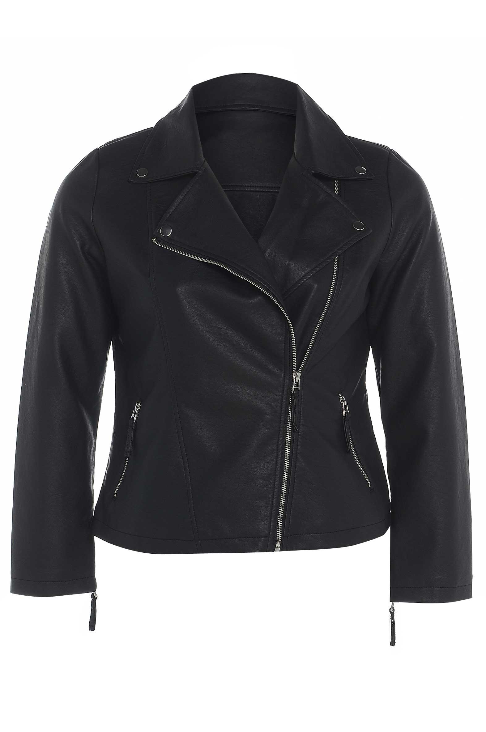 Plus size faux leather biker jacket